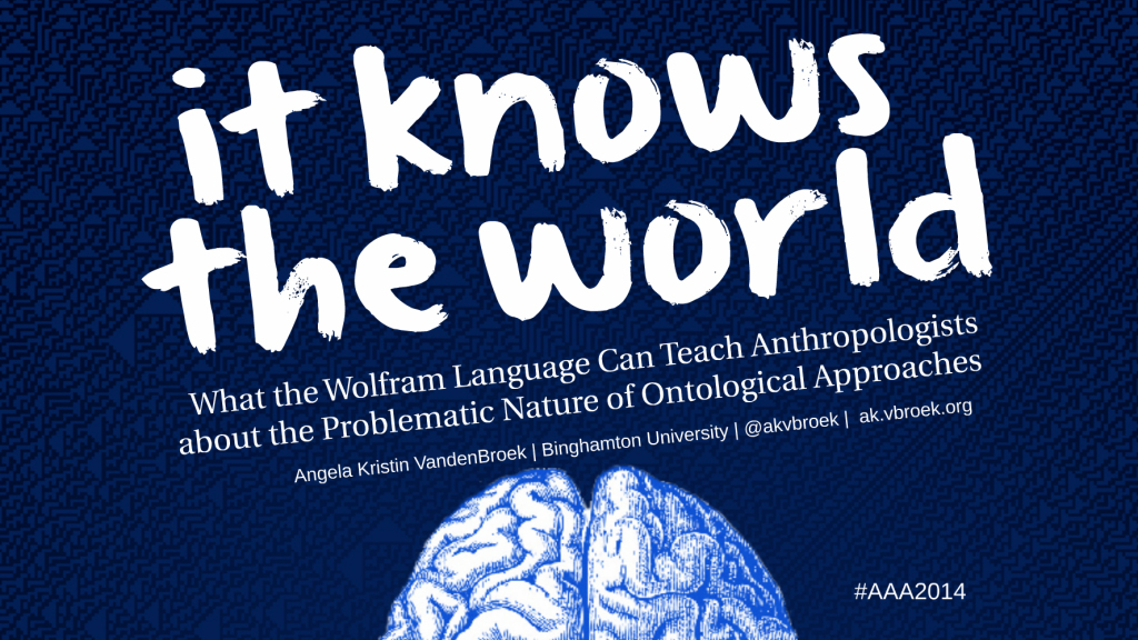 "Title Slide from my AAA 2014 presentation: ""It Knows the World"" What the Wolfram Language Can Teach Anthropologists about the Problematic Nature of Ontological Approaches."