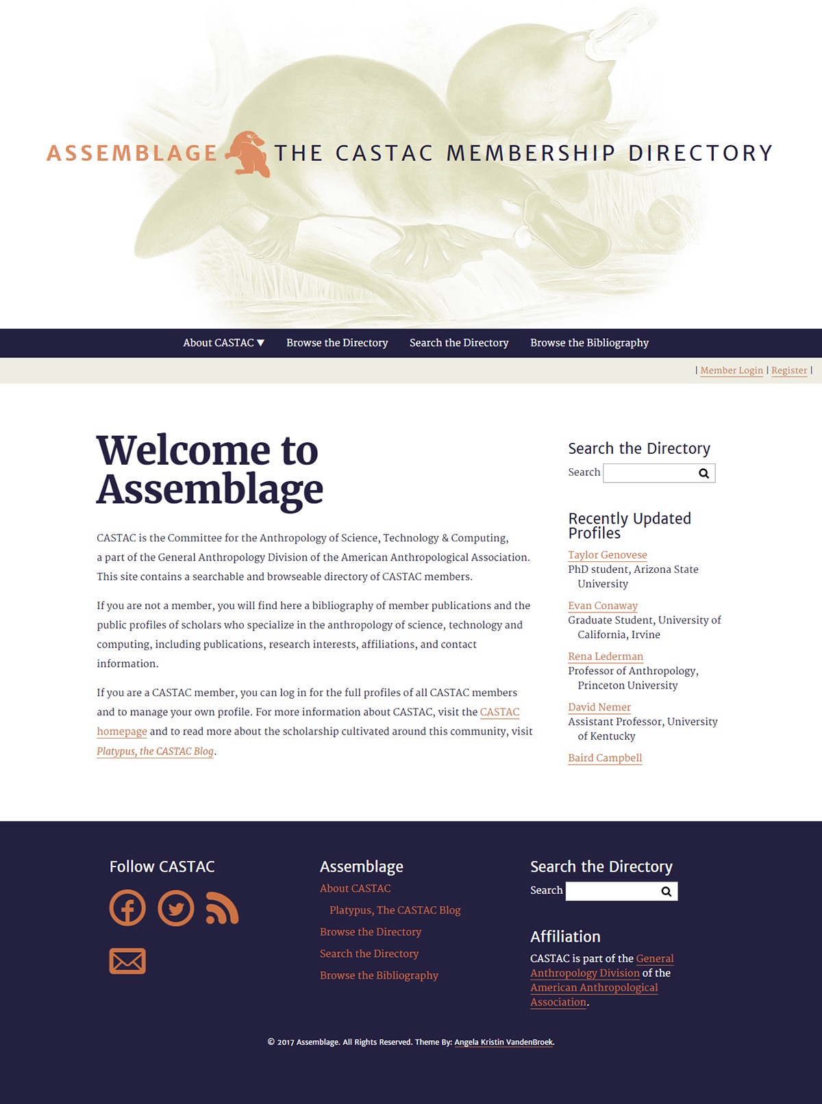 The homepage of Assemblage